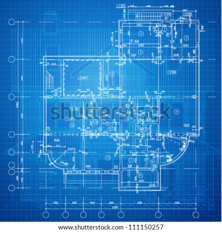 Urban Blueprint (vector). Architectural background. Part of architectural project, architectural plan, technical project, drawing technical letters, design on paper, construction plan - stock vector