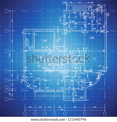 Urban Blueprint (vector). Architectural background. Part of architectural project, architectural plan, technical project, drawing technical letters, design on paper, construction plan