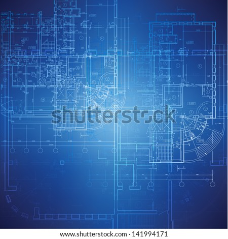 Urban Blueprint (vector). Architectural background. Part of architectural project, architectural plan, technical project, drawing technical letters, design on paper, construction plan Photo stock ©