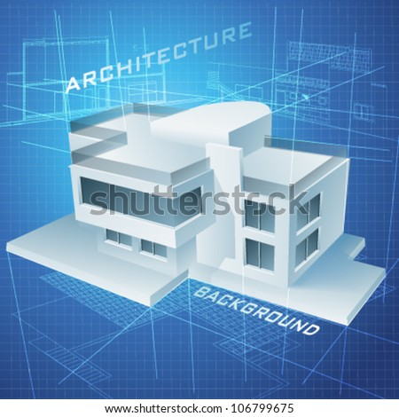 Urban Blueprint (vector). Architectural background with a 3D building model