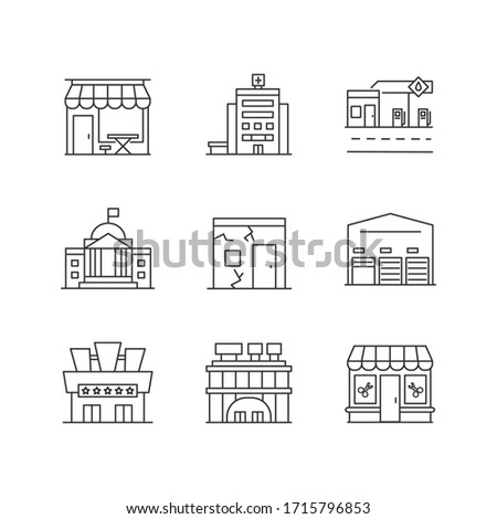 Urban building exteriors pixel perfect linear icons set. Cafe exterior. Hospital entrance. Customizable thin line contour symbols. Isolated vector outline illustrations. Editable stroke