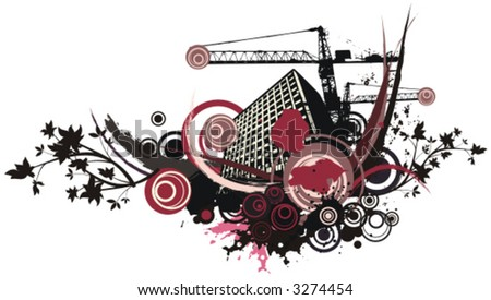 Urban building vector background with grunge and floral details. Check my portfolio for much more of this series as well as thousands of similar and other great vector items. - stock vector