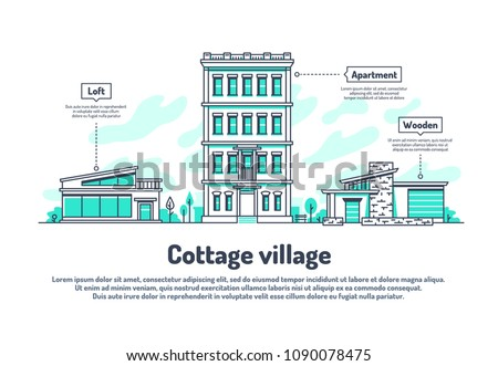 Urban buildings, property housing real estate investment vector background. Line house urban, real building city home illustration - Shutterstock ID 1090078475