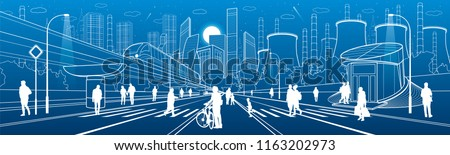 Urban City Infrastructure Illustration. People walking at street. Modern town architecture. Train move on bridge. Illuminated highway. Factory thermal power plant. Monorail road. Vector design art