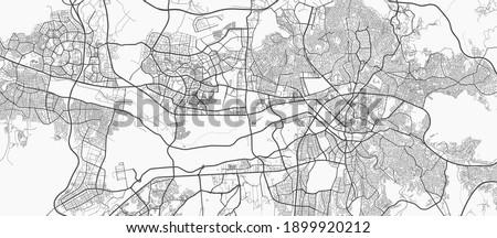 Urban city map of Ankara. Vector illustration, Ankara map grayscale art poster. Street map image with roads, metropolitan city area view.