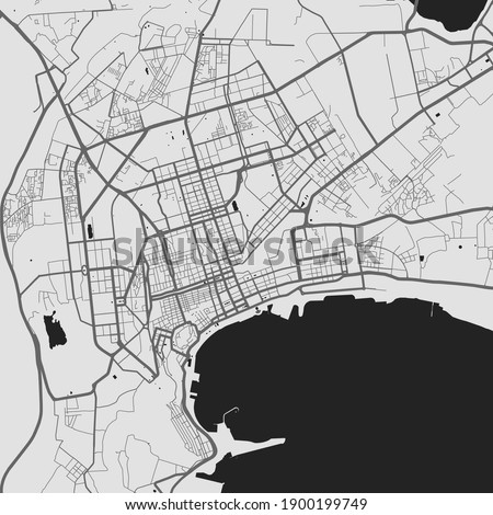Urban city map of Baku. Vector illustration, Baku map grayscale art poster. Street map image with roads, metropolitan city area view.
