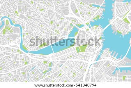 urban city map of boston  usa