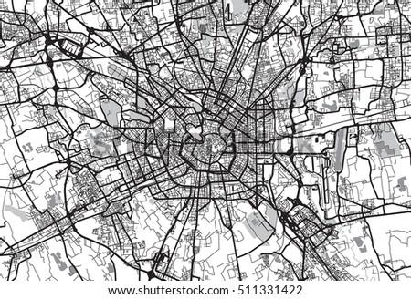 Urban city map of Milan, Italy