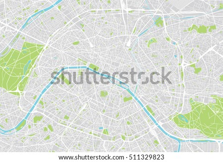 urban city map of paris  france