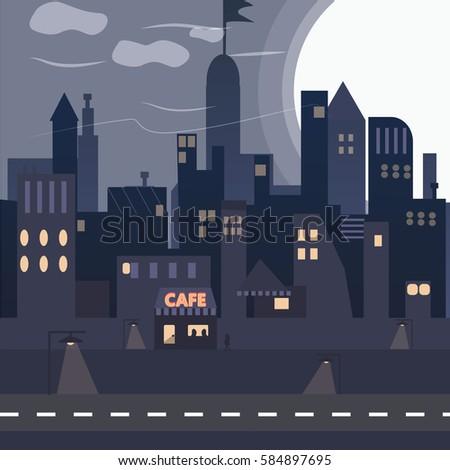 urban city  night town  new