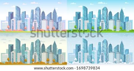 urban city seasons spring town