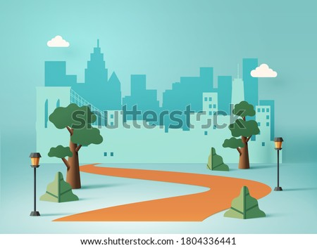 Urban cityscape concept in paper art design with trees, streetlight and winding road leading to the city