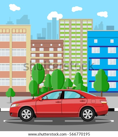 Urban cityscape with red car. vector illustration in flat style