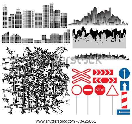Urban collection. Set of different design manually drawn city theme vectors.
