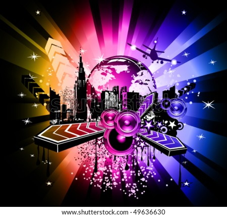 Urban Colorful Discoteque Event Background with abstract music elements