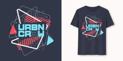 Urban crew abstract geometric graphic t-shirt vector design, typography.