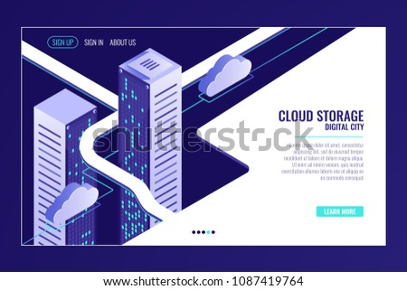 Urban data city, cloud storage concept, server room rack, data center, database, bigdata processing isometric vector
