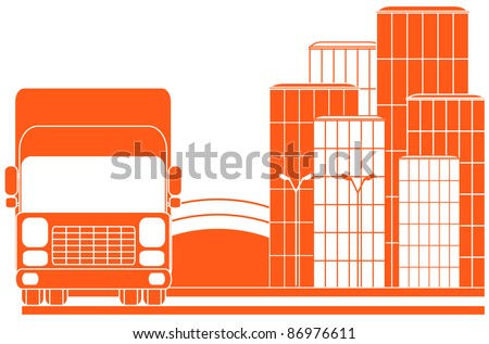 urban delivery sign with city and red lorry