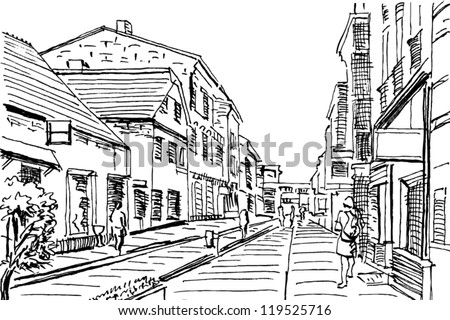 urban doodle drawing vector