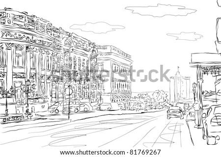urban doodle sketch vector