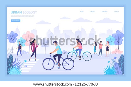 Urban ecology city street vector illustration. People walking in the city park