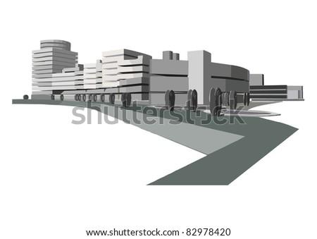 urban ensemble on the waterfront on a white background