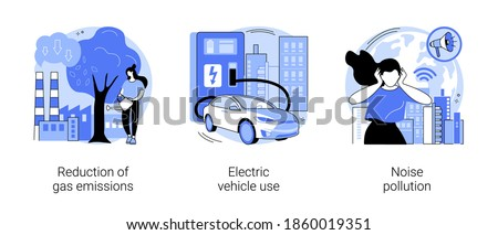 Urban environment abstract concept vector illustration set. Reduction of gas emissions, electric vehicle use, noise pollution, Co2 greenhouse gas, eco-friendly transportation abstract metaphor.