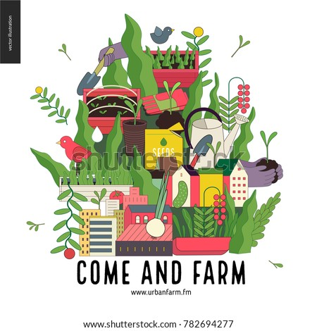 Urban farming and gardening collage with gardening tools, greens and houses. Come and farm - invitation to collaboration