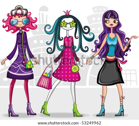 Urban fashion girls (from fashion girl series)