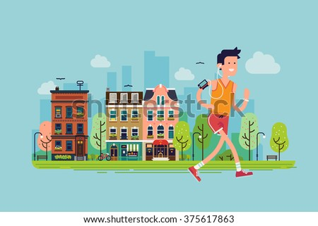 Urban fitness. Cool vector flat design on young adult man running town street | Sport fitness male character running in city setting