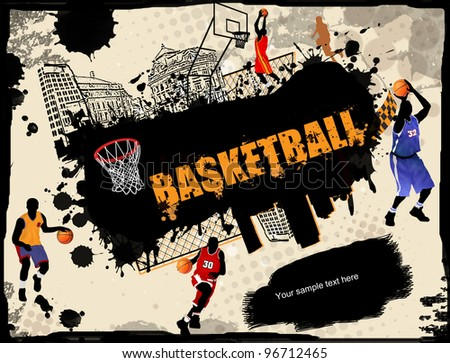 Urban grunge basketball background, vector illustration - stock vector