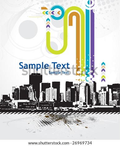 Urban grunge city with sample text background - vector illustration