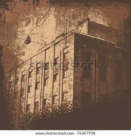 urban house and grunge scratched background. retro style. vector illustration for  CD cover