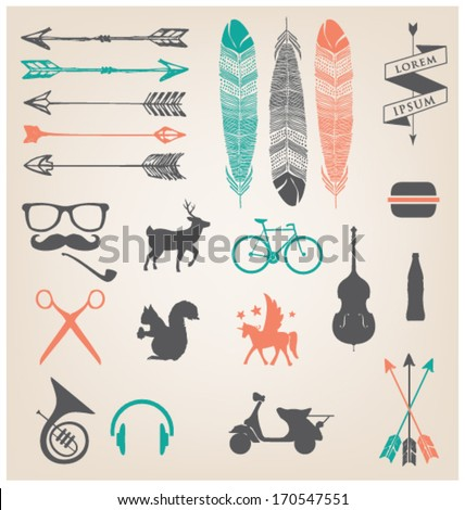 URBAN ICONS & SYMBOLS. HIPSTER TREND. Editable vector illustration file.