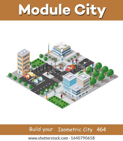 Urban industrial isometric 3d architectural flat plan. Three-dimensional drawings and construction plans. Skyscraper building structure map