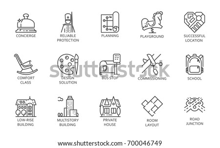 Urban infrastructure outline pictograph set. Line icons of playground, buildings, bus stop, high service, reliable protection, road map and other symbols. Simple contour vector pictogram