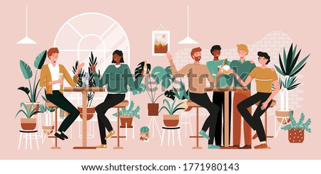 Urban jungle banner, card print. Interior plants decor elements. Winter garden. Tropical leaves, monstera, cacti. People having fun, sitting and drinking. Happy friends, business people at bar party