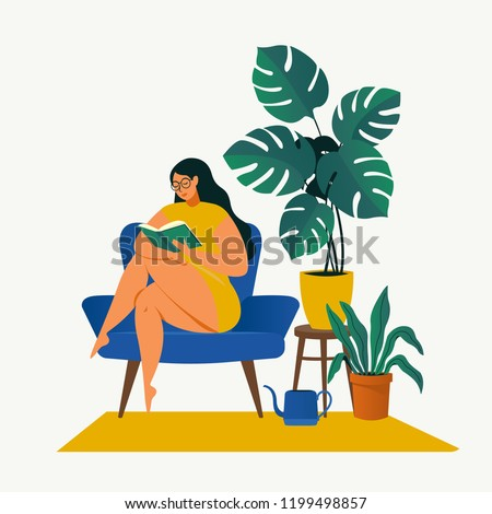 Urban jungle, trendy home decor with plants, cacti, tropical leaves.