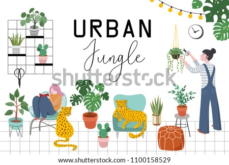 Urban jungle, trendy home decor with plants, leopards, cacti, tropical leaves