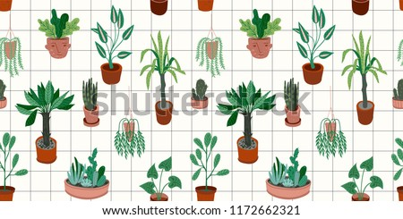 Urban Jungle. Vector seamless pattern with trendy home decor. Houseplants, tropical leaves.