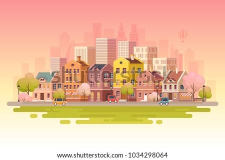 Urban landscape background.Vector illustration.