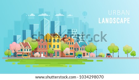 Urban landscape background.Vector illustration. Сток-фото ©