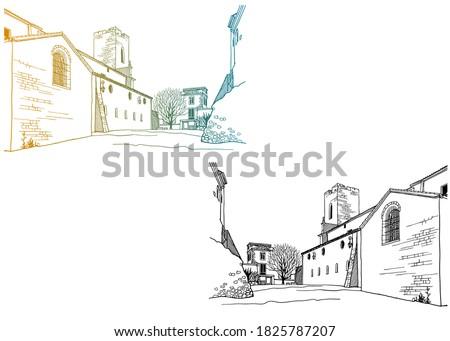 urban landscape in hand drawn