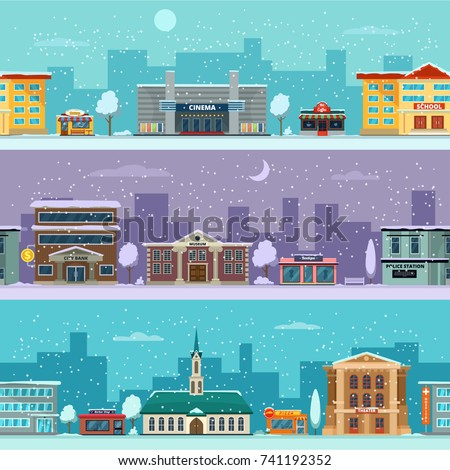 Urban landscape in winter season. Snowy weather. Vector pictures in cartoon style. Urban city street winter weather illustration