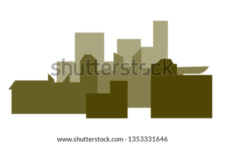 Urban landscape. Urban landscape in green hues. Silhouette of the city. Stylized urban environment
