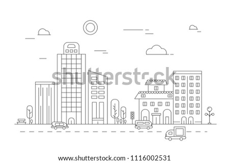 Urban landscape. Vector linear pictures of various city buildings. City line building, town architecture illustration