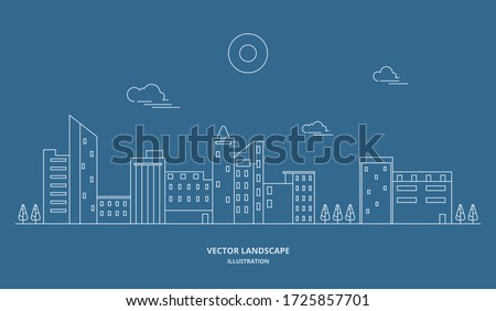Urban landscape with building and tree. Cityscape vector. Thin line style illustration. Stockfoto ©