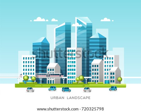 Urban landscape with buildings, skyscrapers and city transport. Real estate and construction industry concept. Vector illustration.