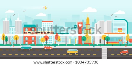 Urban landscape with contemporary buildings, people and traffic, City life Concept, Flat style vector illustration.
