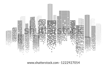 Urban Landscape with Dotted Skyscrapers Silhouette Isolated on White Background. Vector Illustration